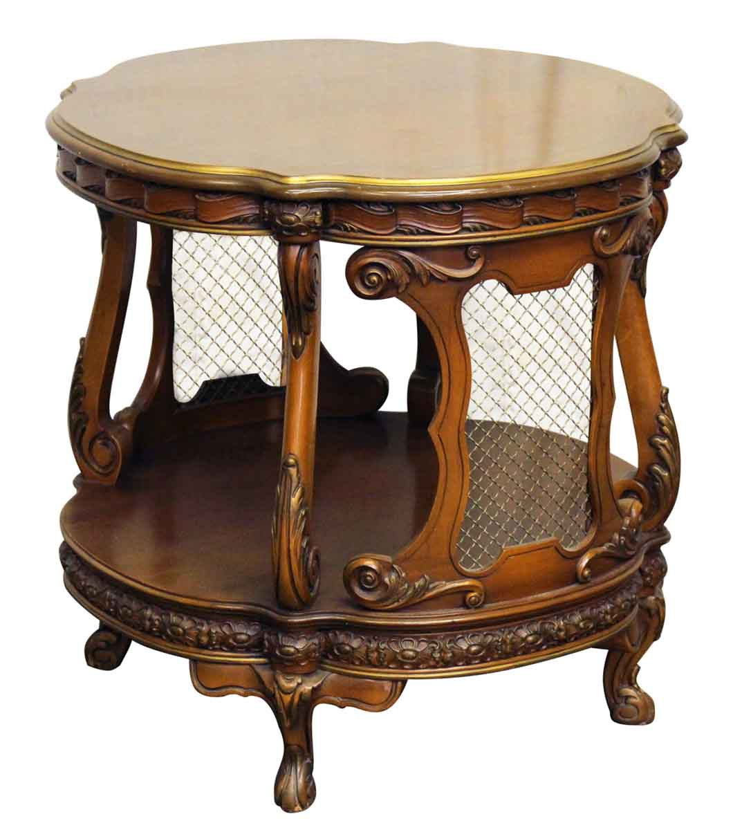 French carved side table with metal grids olde good things - Metal side tables for living room ...