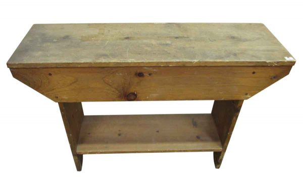 Vintage Wooden Pine Bench - Industrial