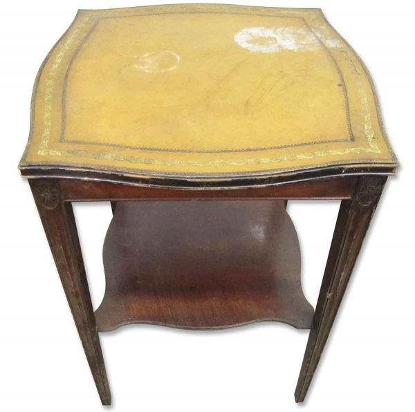 Yellow Leather Top Table - Living Room
