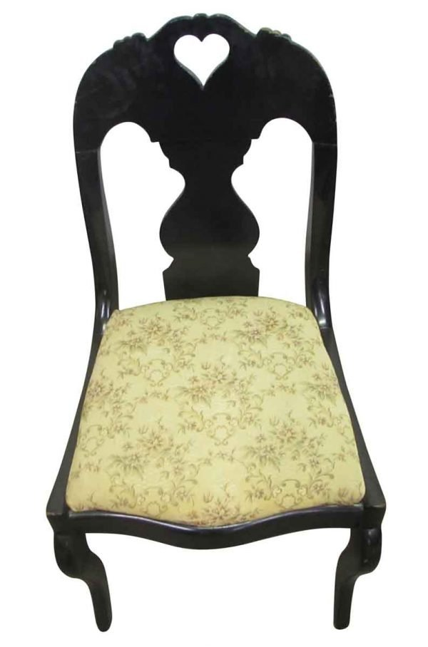 Dark Stain Antique Wooden Chair - Seating