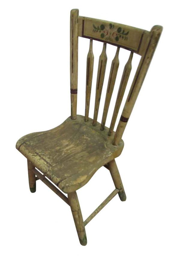 Stenciled Vintage Wooden Chair - Seating