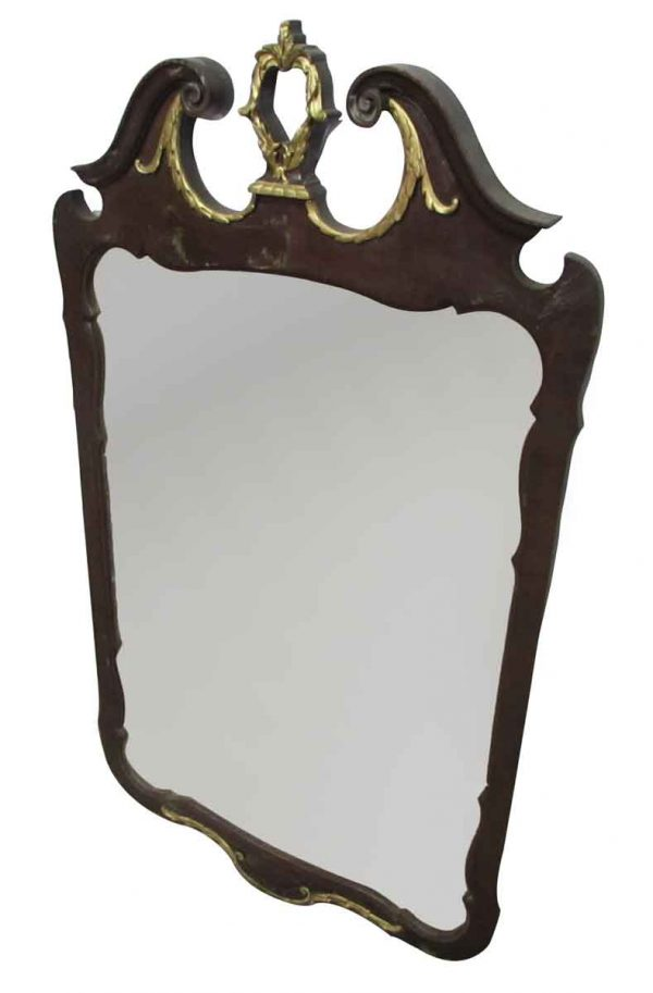 Dark Wooden & Gold Detailed Mirror - Antique Mirrors
