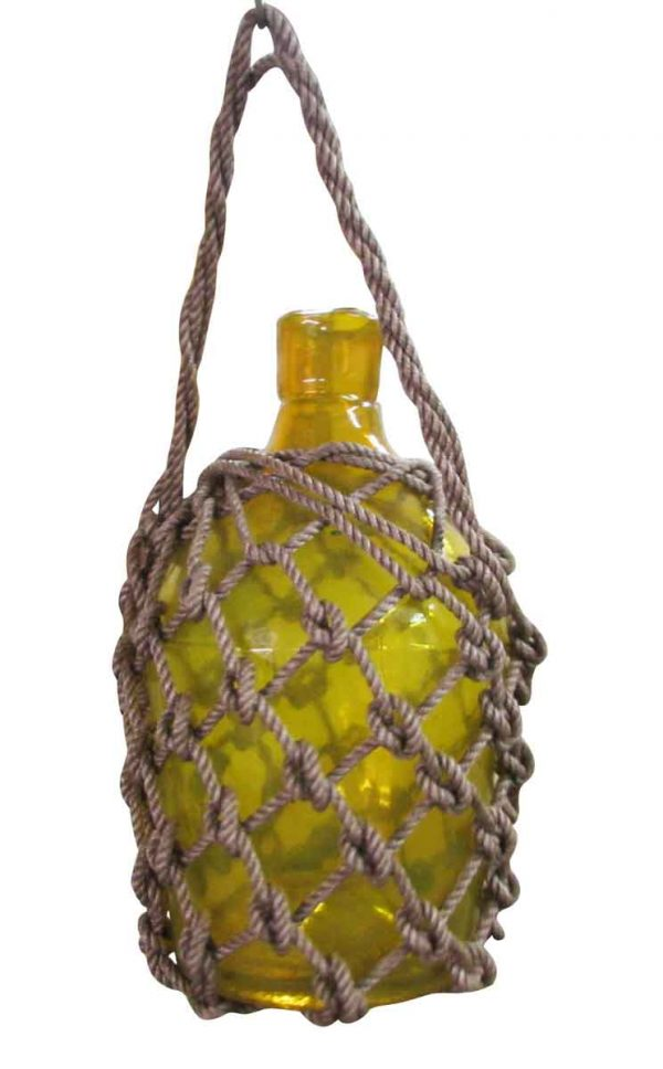 Nautical Yellow Roped Glass Bottle - Nautical Antiques