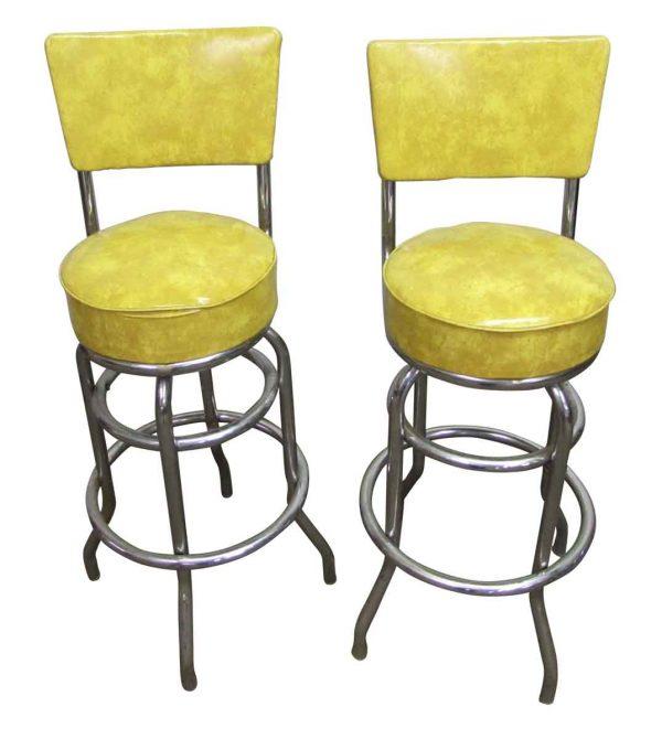 Yellow Vinyl Bar Stools - Seating