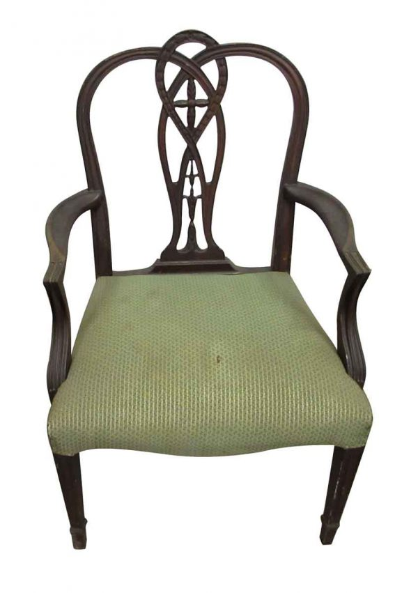 Wood Arm Chair with Green Fabric - Seating