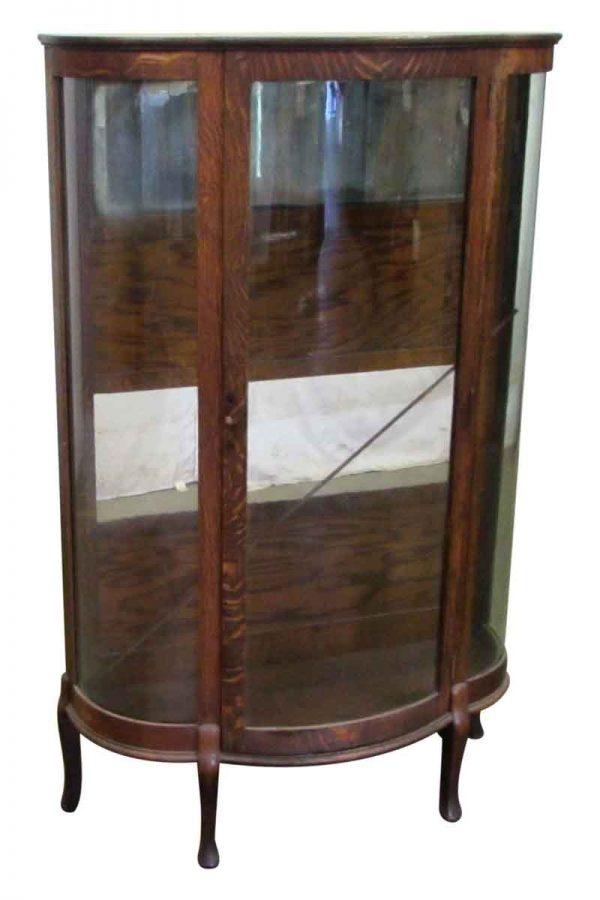 Antique Tiger Oak Curio Showcase - Cabinets