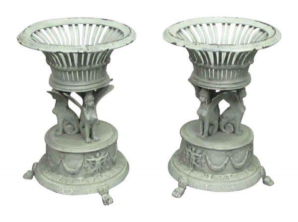 Pair of Bronze Urns with Gryphons - Garden Elements