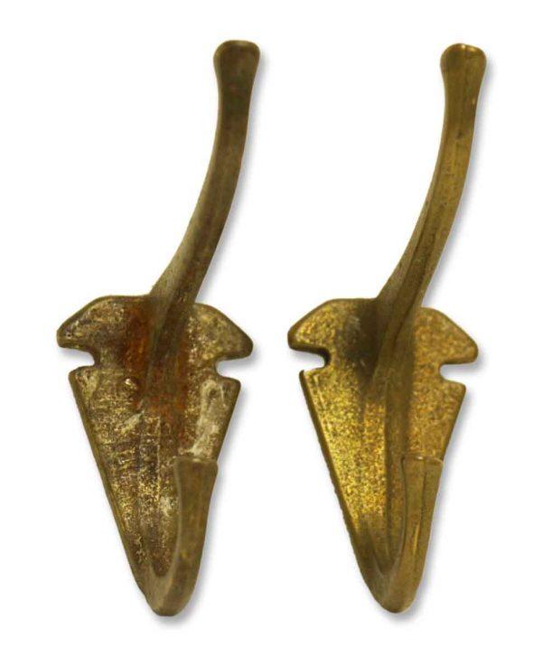 Pair of Antique Deco Hooks - Single Hooks