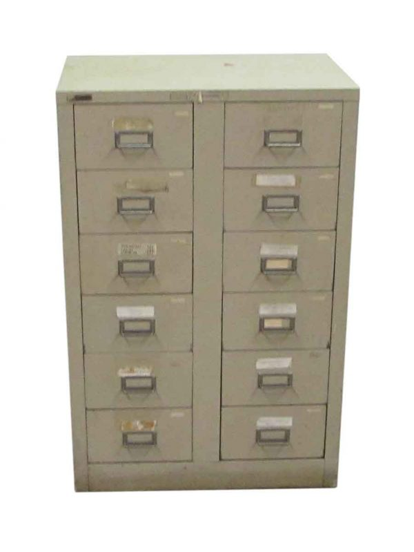 Tan Metal File Card Cabinet - Office Furniture