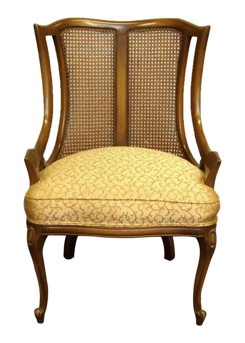 Pair Cane Wing Back Upholstered Chairs Olde Good Things