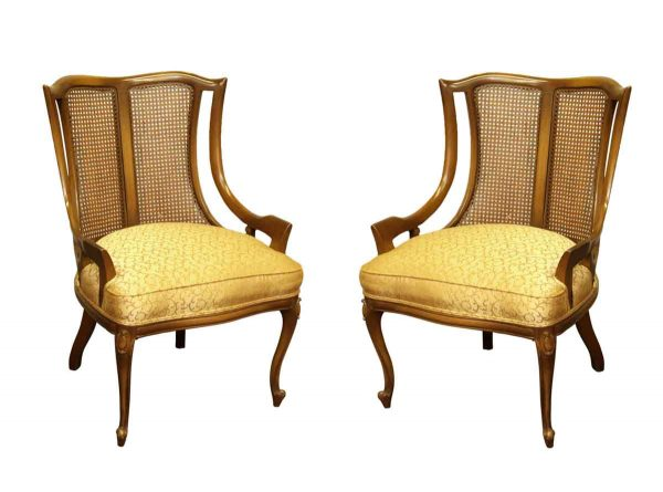Pair of Upholster Wicker Back Chairs - Living Room