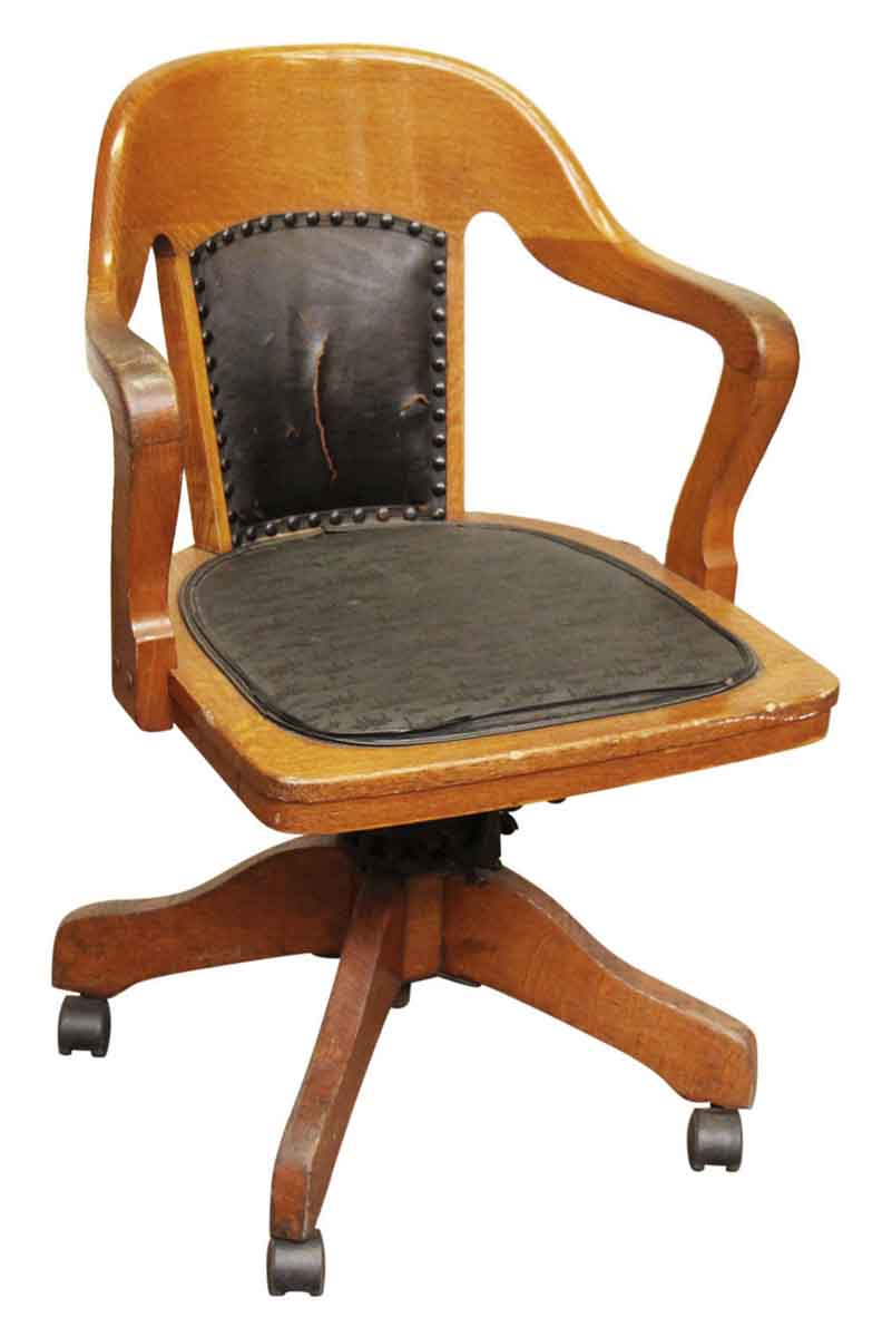 Wooden rolling desk chair with vinyl olde good things for Antique desk chair