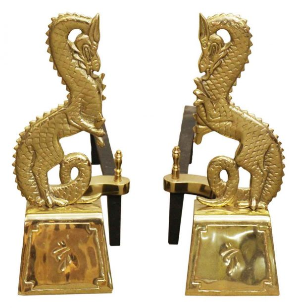Pair of Brass Asian Dragons Andirons - Andirons