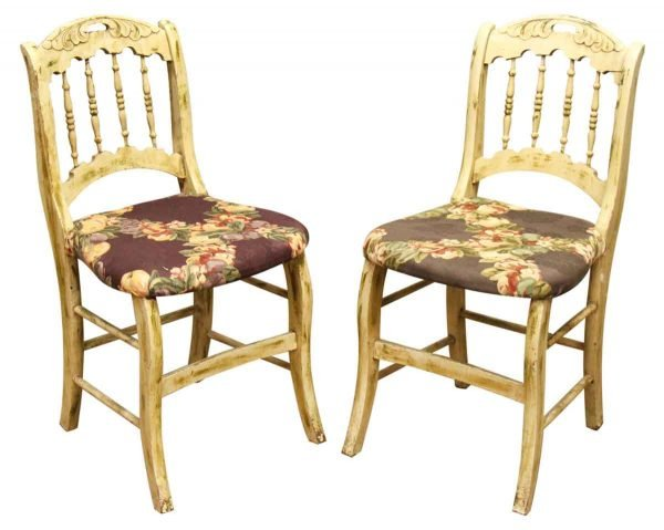 Set of Wooden Chairs with Floral Seat - Kitchen & Dining