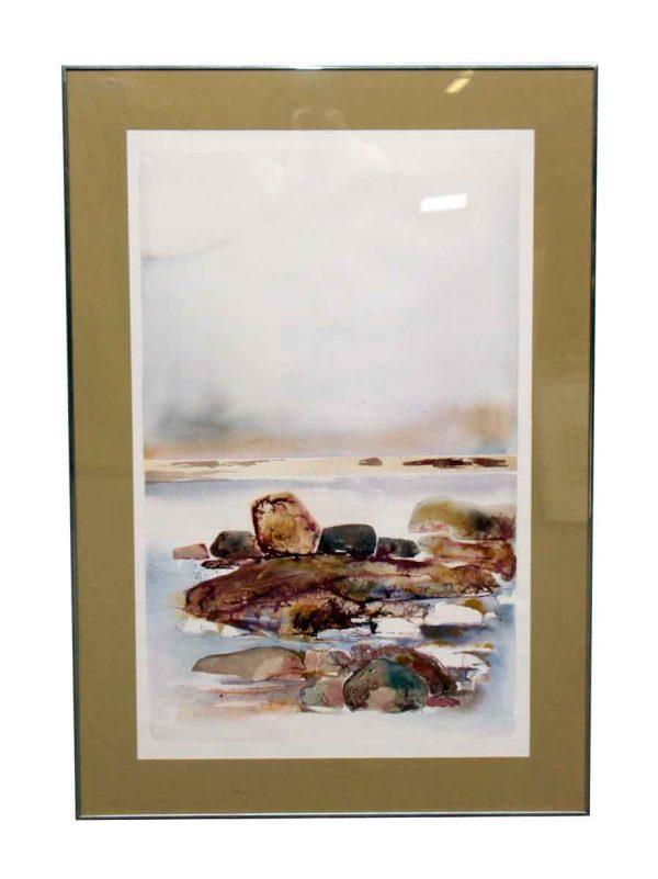 Scenic Watercolor Painting in Metal Frame - Paintings