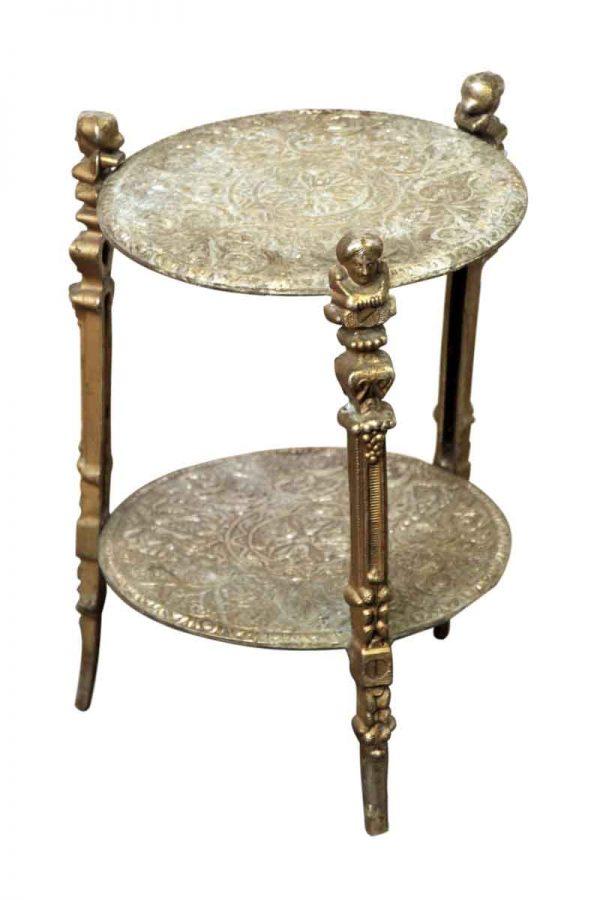 Metal Ornate Figural Side Table - Living Room