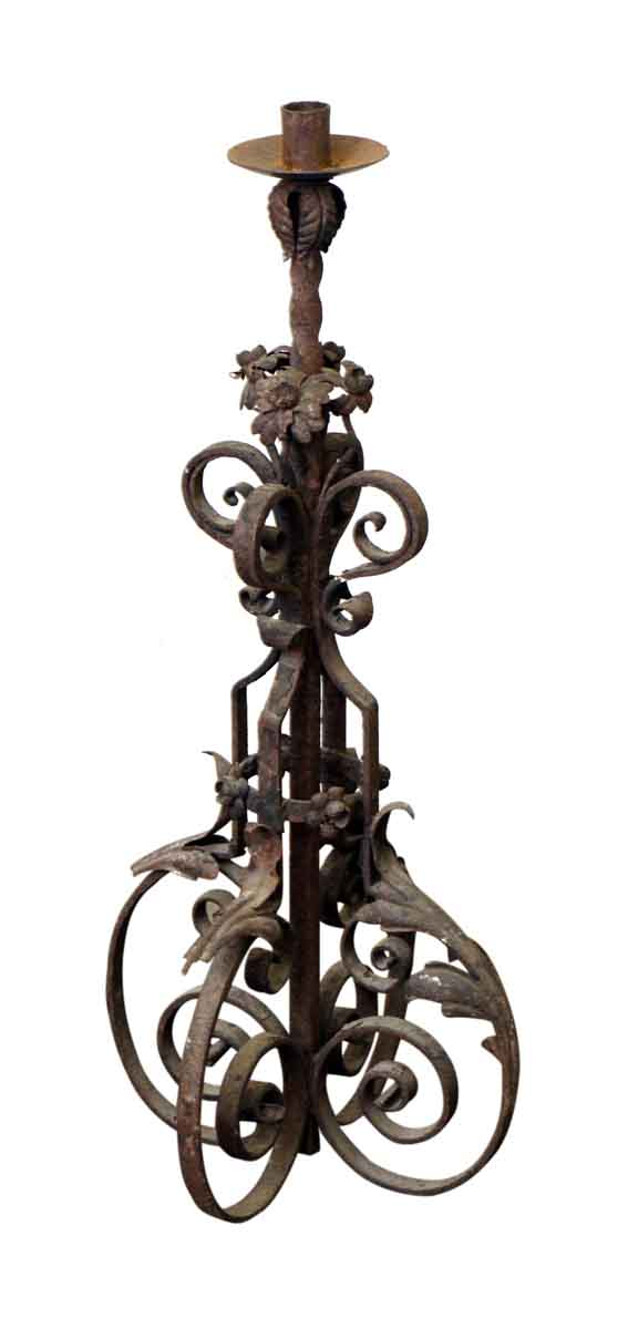 19th Century Wrought Iron Standing Lantern - Candle Holders