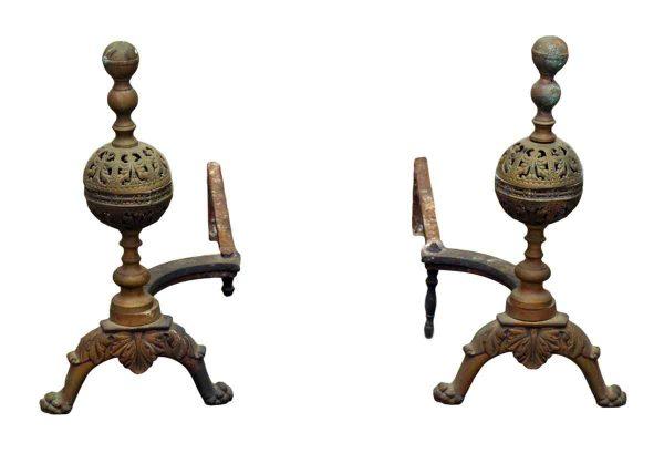 Ornate Bronze Andirons - Andirons