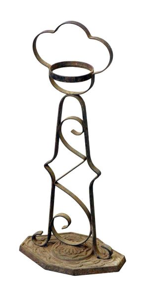 Decorative Wrought Ash Tray Stand with Cast Base - Decorative Metal