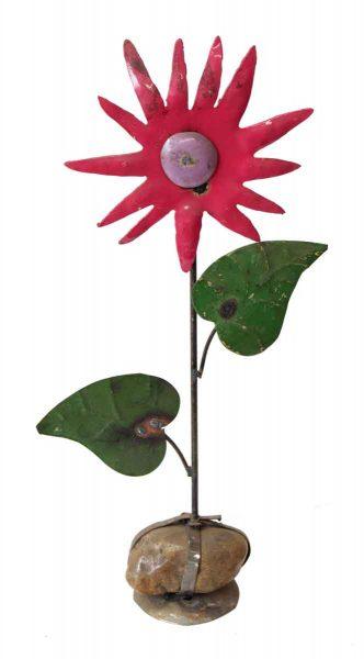 Handmade Tin Pink Flower - Decorative Metal