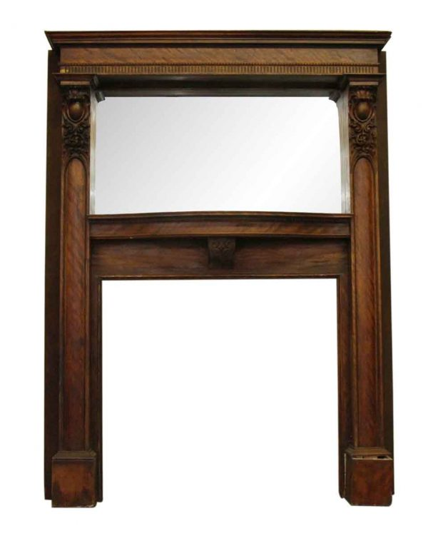 Carved Wooden Victorian Mantel with Over Mantel Mirror - Mantels