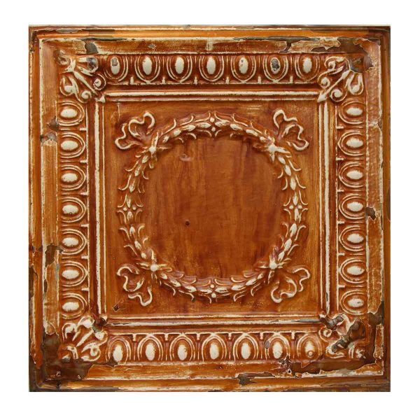 Wreath Orange Tin Panel - Tin Panels