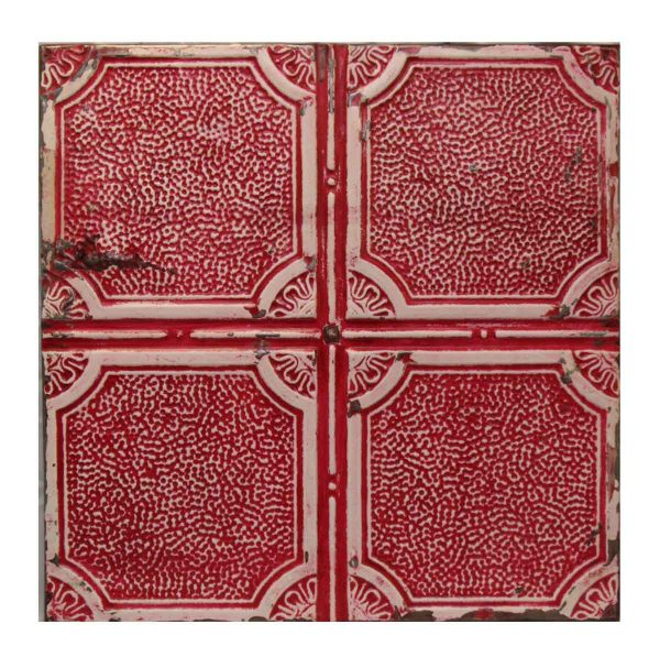 Red Geometric Tin Panel - Tin Panels