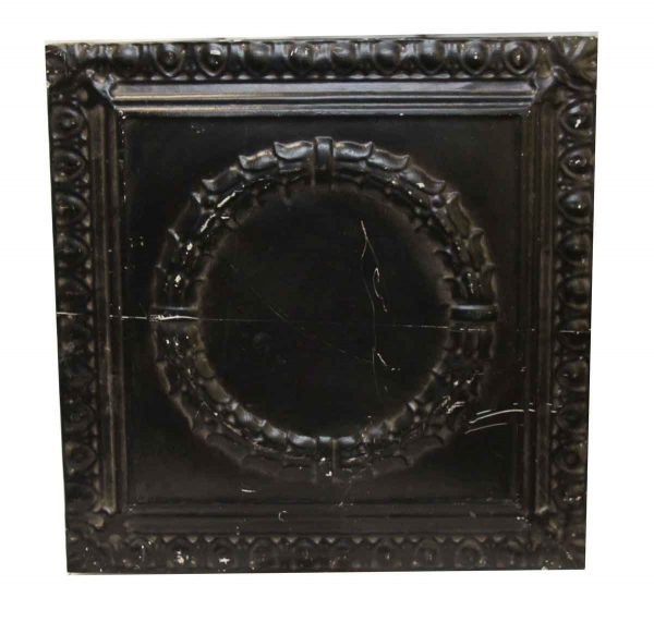 Decorative Black Wreath Tin Panel - Tin Panels