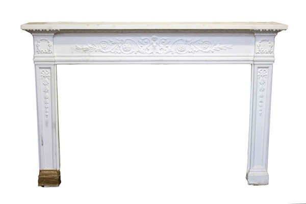 Painted White Ornate Wooden Mantel - Mantels