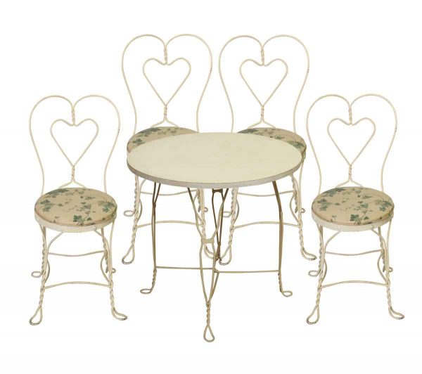 White Iron Floral Table Set - Patio Furniture