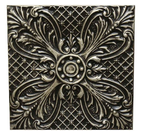 Black & Silver Circle Leaf Tin Panel - Replica Tin Mirrors & Panels