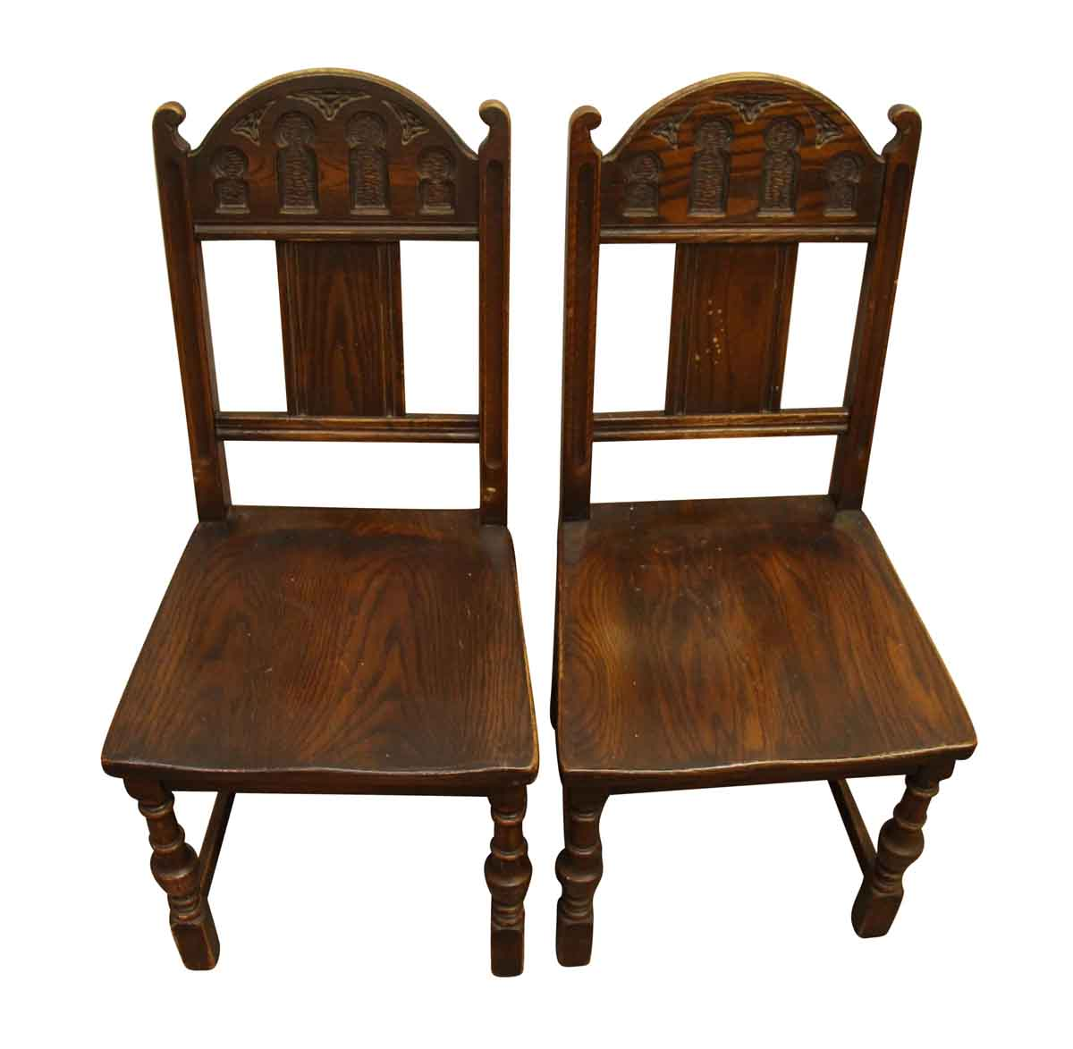pair of gothic wooden chairs olde good things. Black Bedroom Furniture Sets. Home Design Ideas