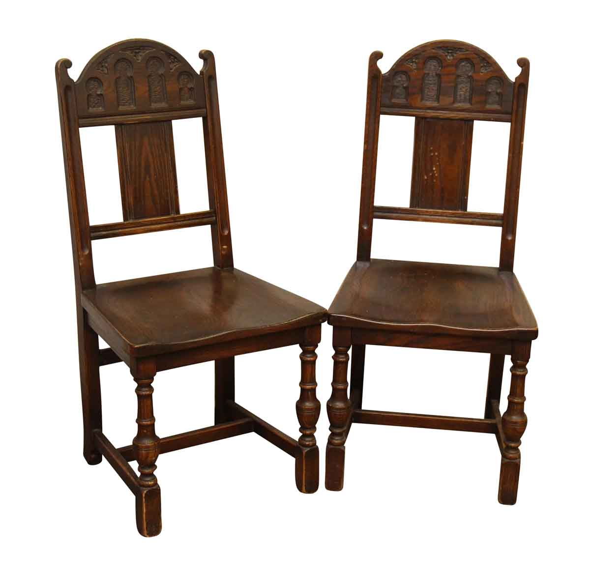 Pair of gothic wooden chairs olde good things Old wooden furniture