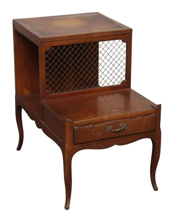 Pair of Vintage Leather Top Side Tables - Living Room