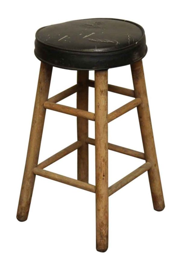 Wood & Black Vinyl Stool - Flea Market