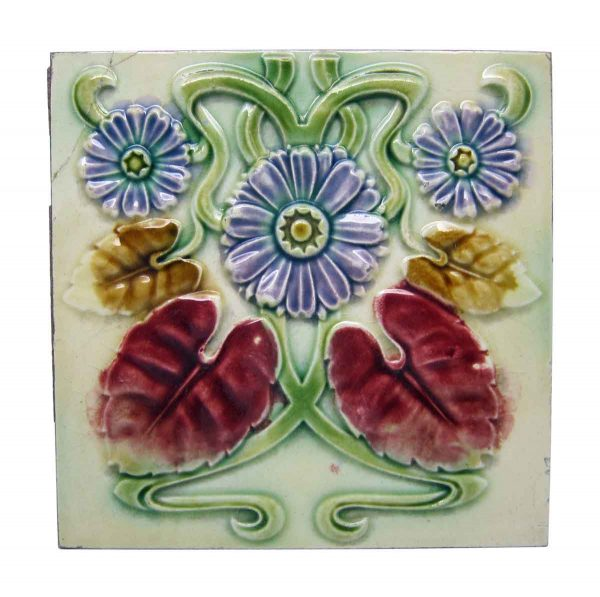 Floral Decorative Colorful Art Nouveau Tile Set - Wall Tiles