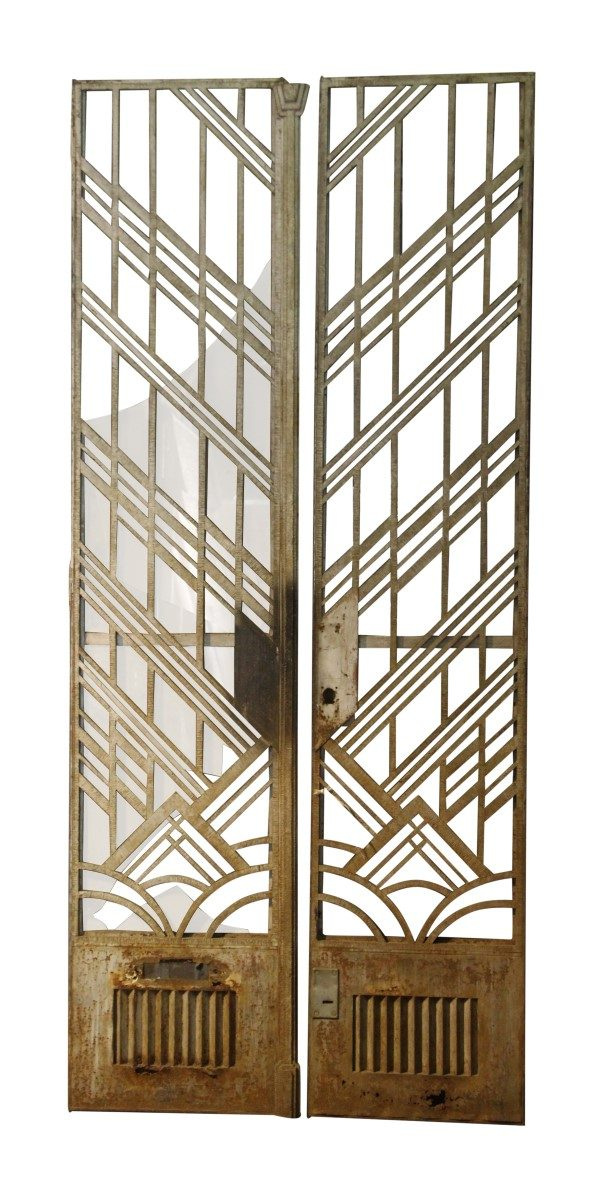 Art Deco Cast Iron Tall Entry Doors with Transom & Frame - Commercial Doors
