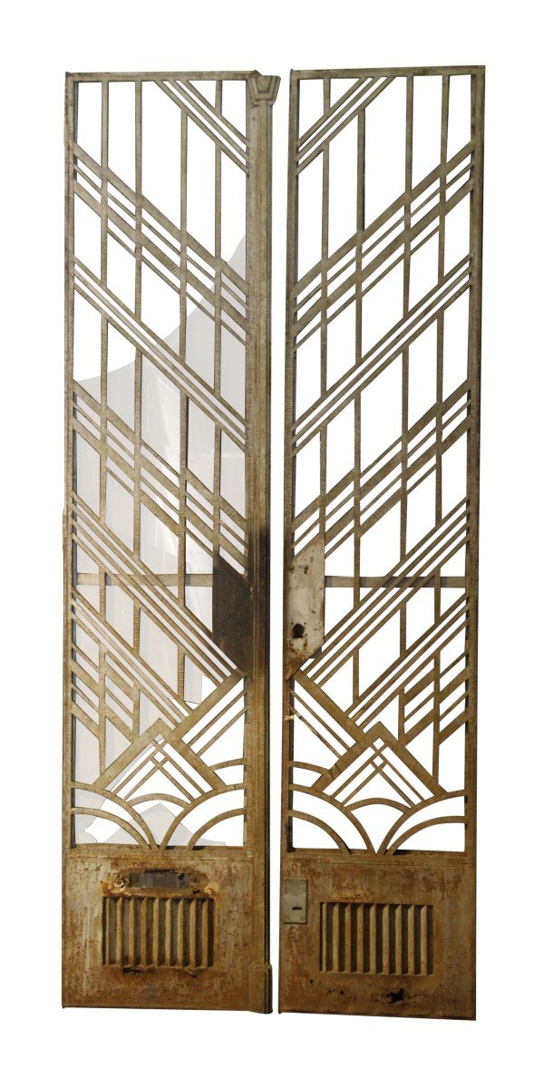 Art Deco Cast Iron Tall Entry Doors With Transom Frame Olde Good