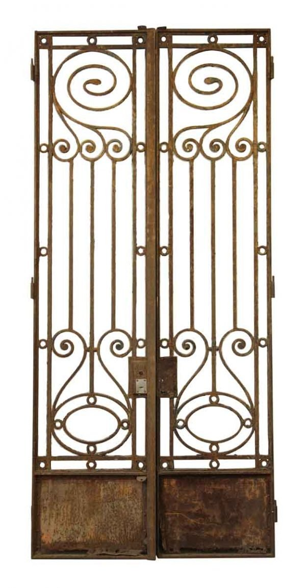 19th Century Wrought Iron Town House Gates or Doors - Entry Doors