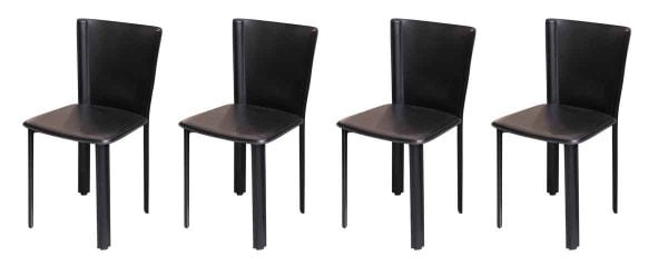 Set of Four Black Leather Chairs - Kitchen & Dining