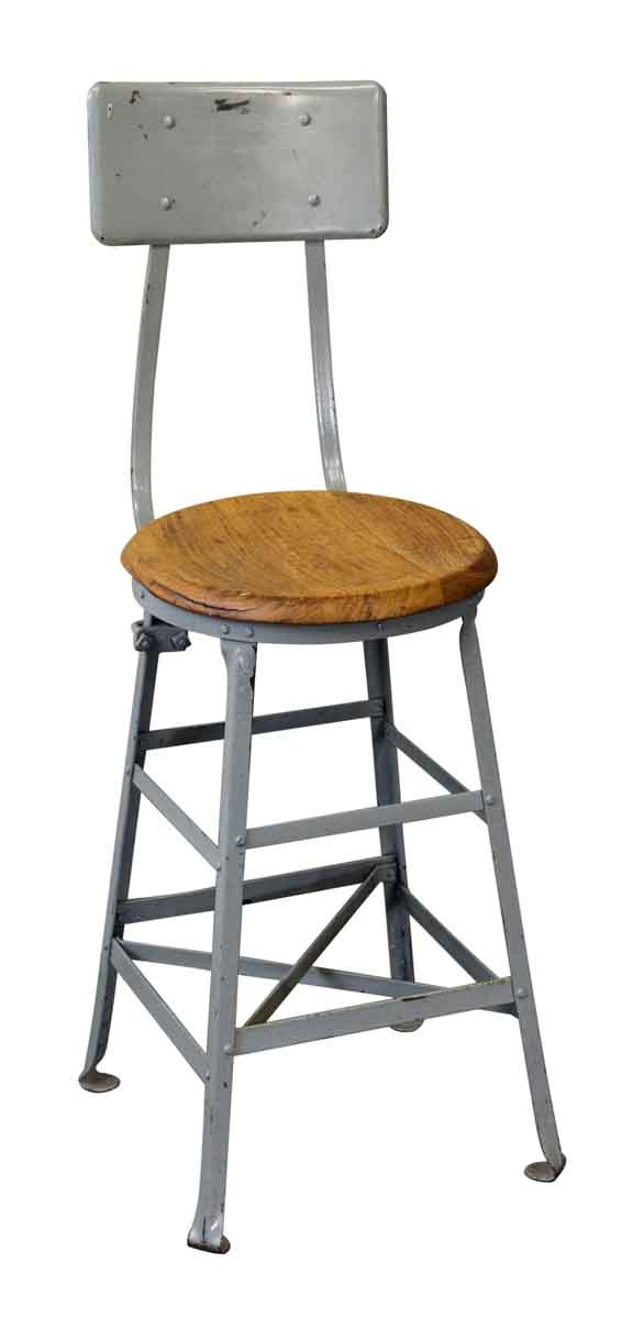 Industrial Stool with Wooden Seat - Seating
