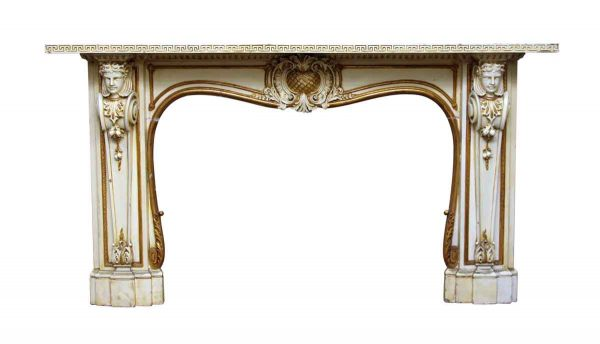 Beautiful Carved Wooden Figural Mantel - Mantels