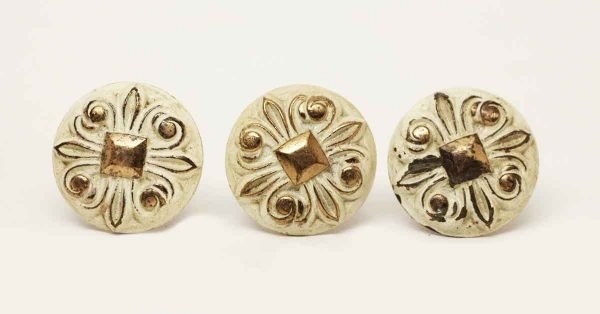 Set of Three Ornate Cream & Gold Pulls - Cabinet & Furniture Knobs