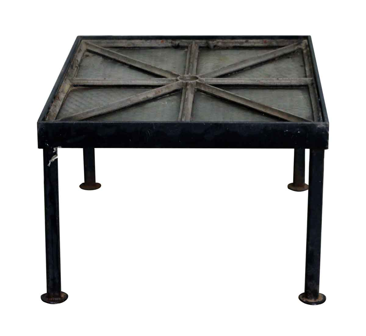 Cast Iron Frame Chicken Wire Glass Window Table | Olde Good Things