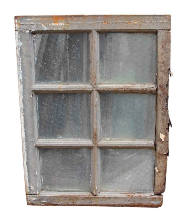 Distressed Top & Bottom Chicken Wire Glass Window - Reclaimed Windows