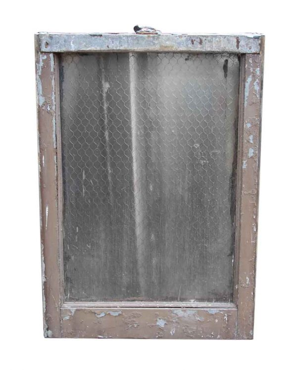 Single Panel Pebbled Chicken Wire Glass in Galvanized Metal Window Frame - Reclaimed Windows