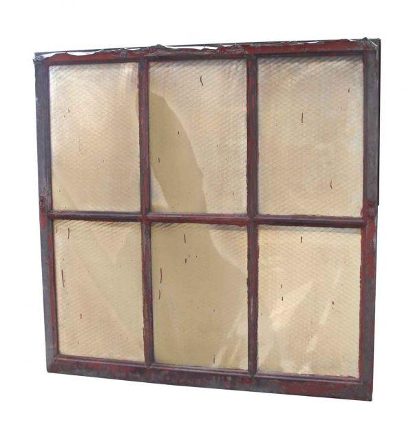 Six Pane Industrial Steel Chicken Wire Glass Window - Reclaimed Windows