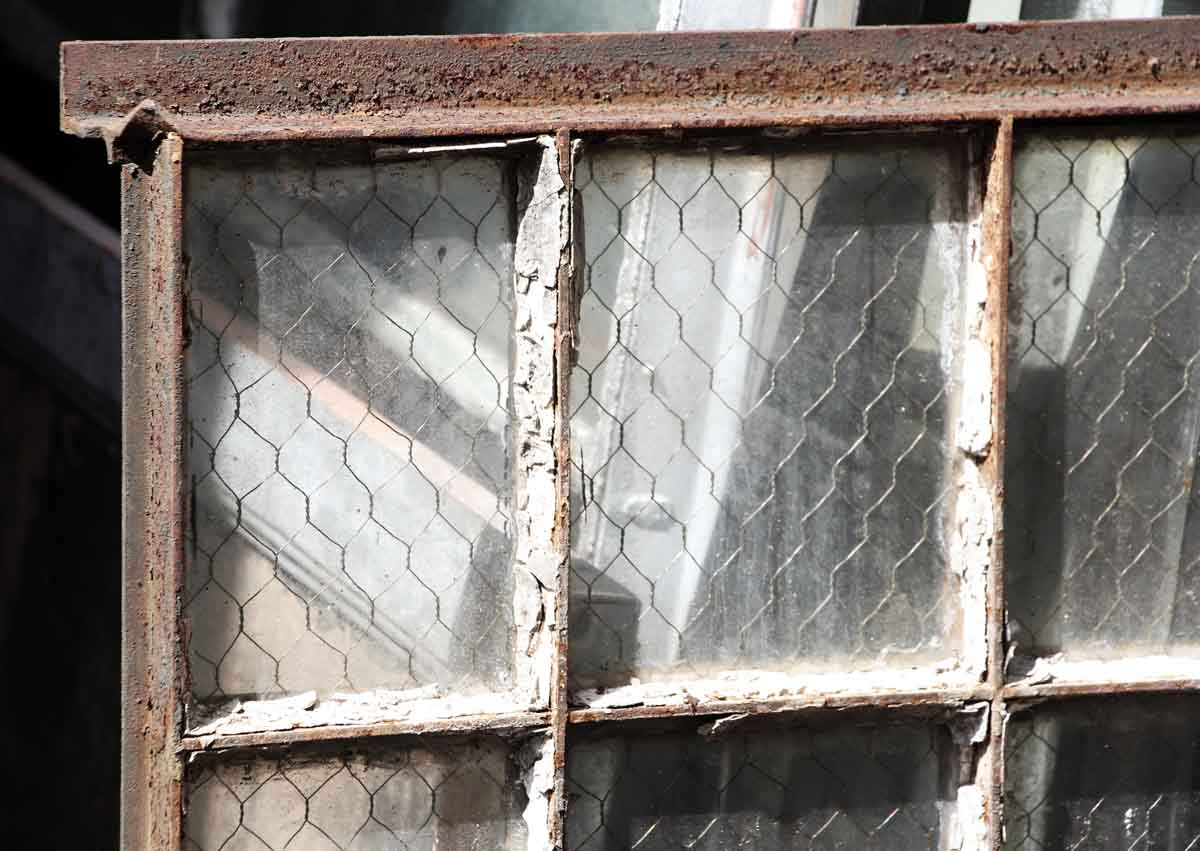 30 Pane Steel Frame Chicken Wire Glass Window Olde Good Things