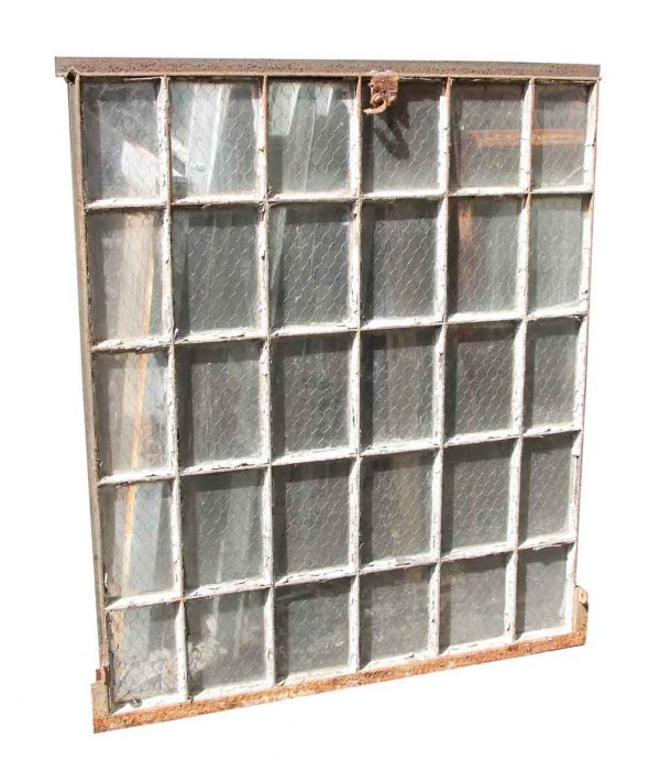 30 Pane Steel Frame Chicken Wire Glass Window - Reclaimed Windows