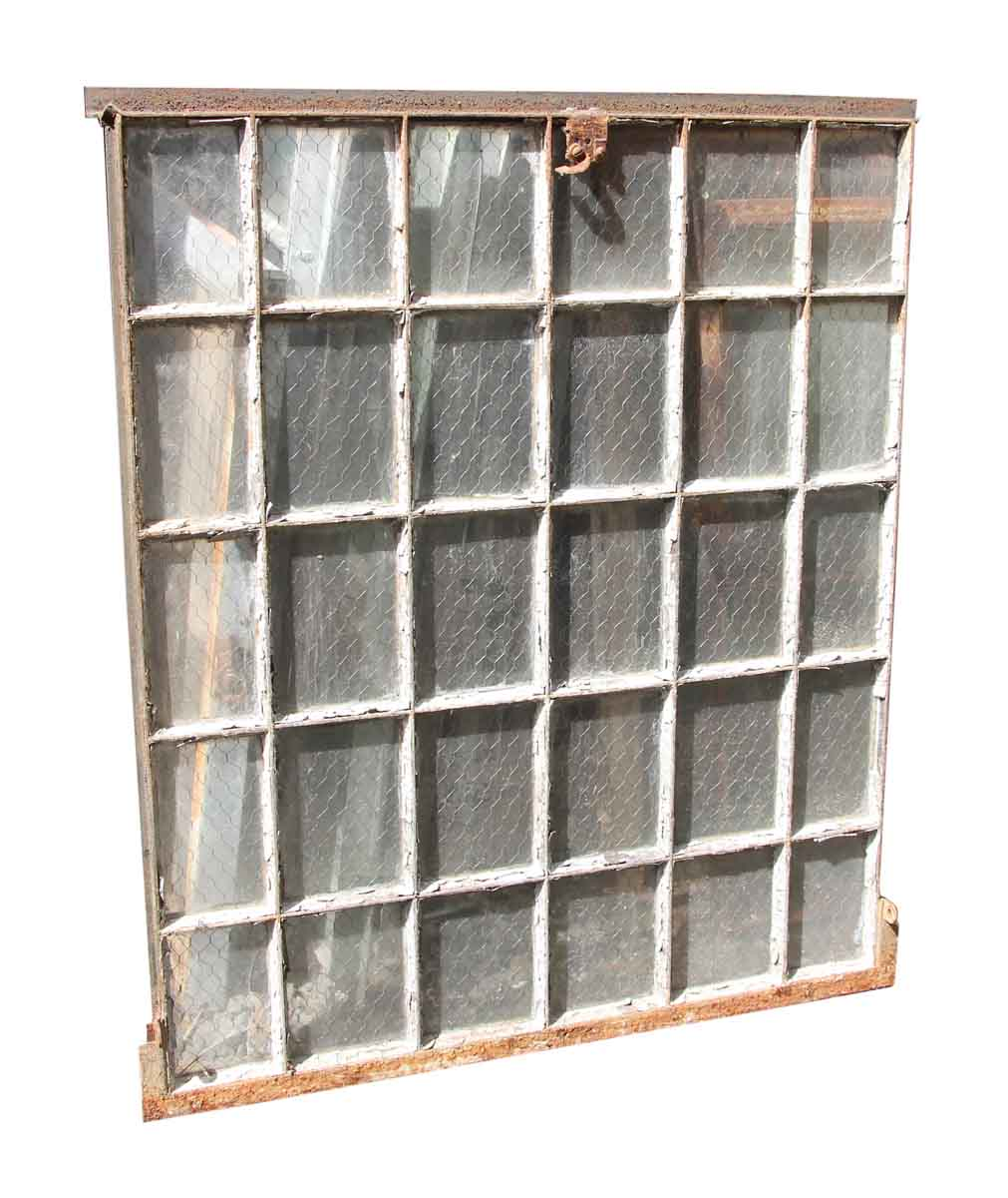 30 Pane Steel Frame Chicken Wire Glass Window | Olde Good Things